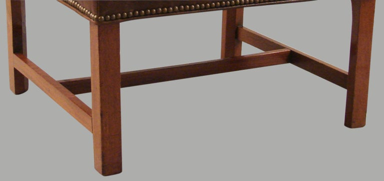 English George III Mahogany Bench Upholstered in Leather For Sale