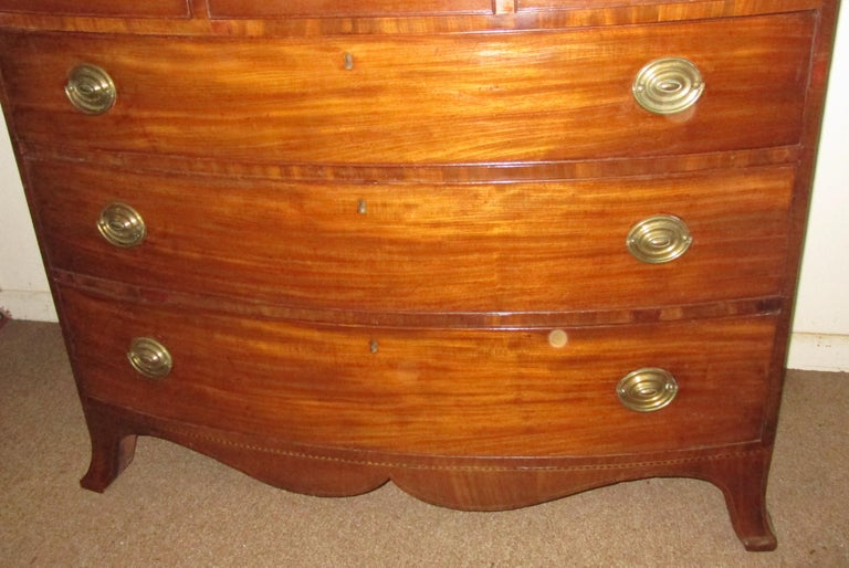 English George III Mahogany Bow Front Chest of Drawers For Sale