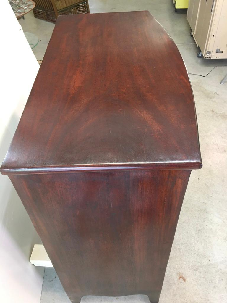 Brass George III Mahogany Bow Front Chest of Drawers For Sale
