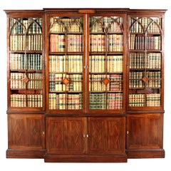 George III Mahogany Breakfront Bookcase in the Manner of Thomas Sheraton