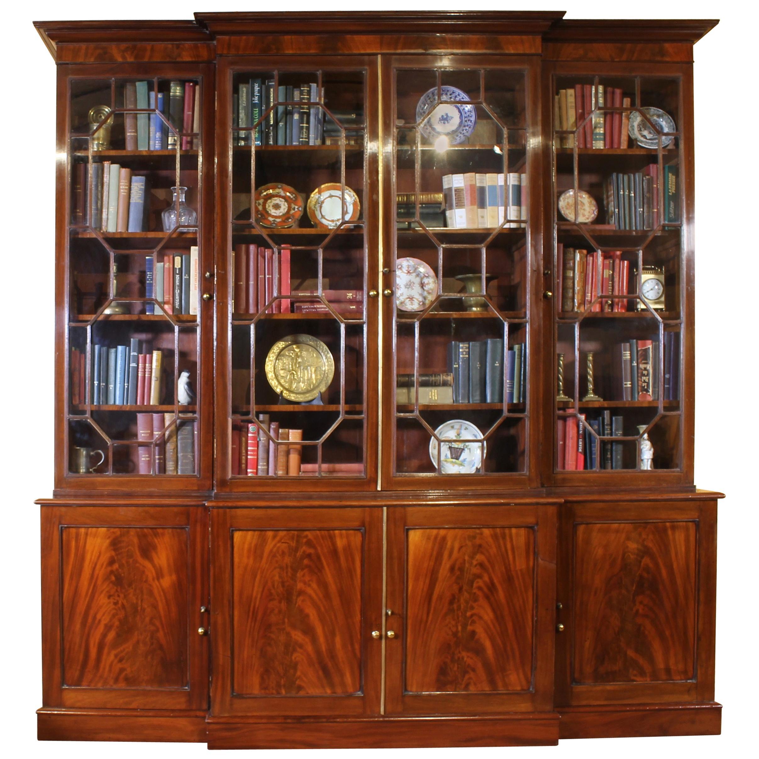 George III Mahogany Breakfront Bookcase Library, circa 1800
