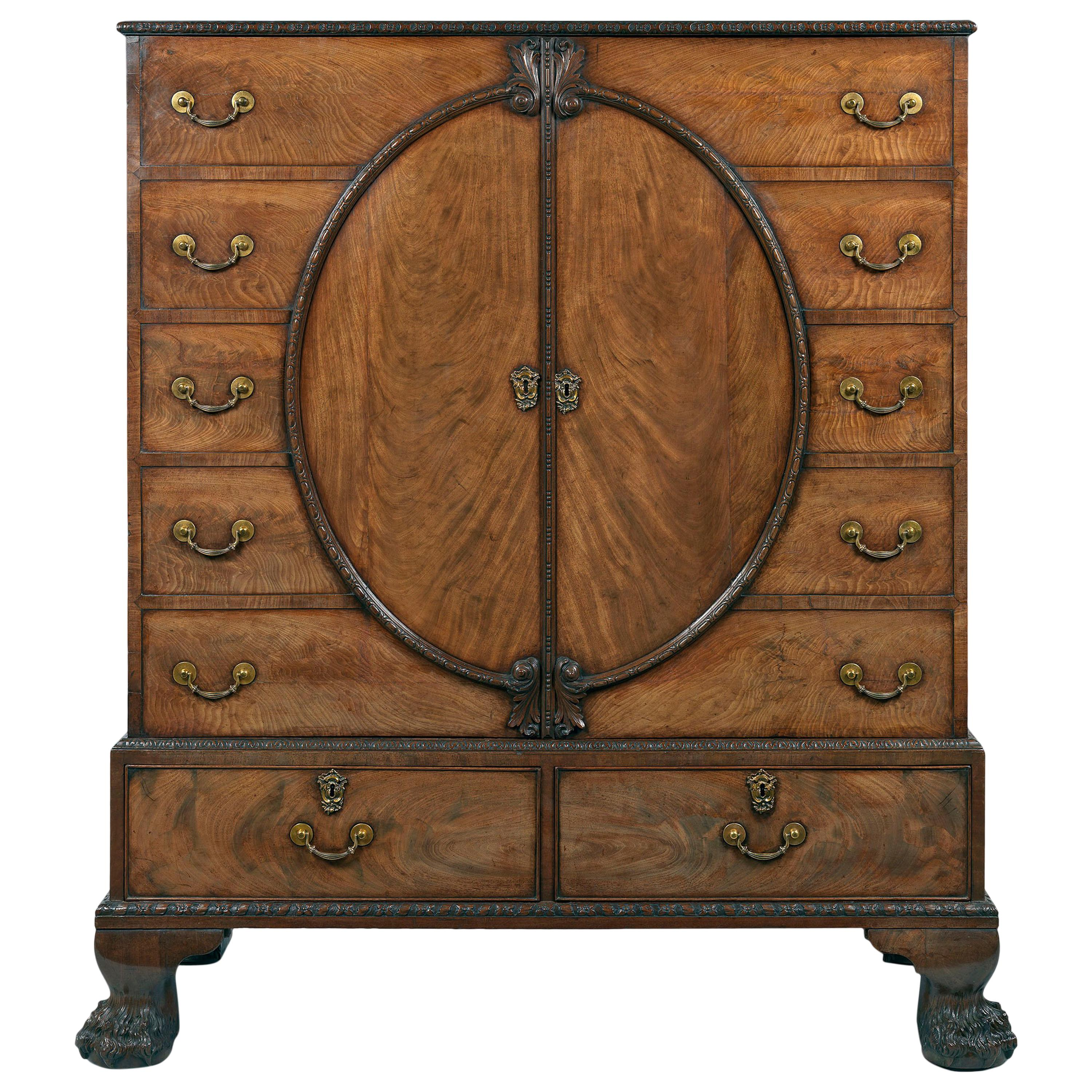 9307af95f93a9 George III Mahogany Breakfront Antique China Cabinet Bookcase ...