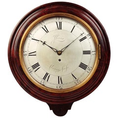 Antique George III Mahogany Cased Wall Clock, John Leroux, Charing Cross, London