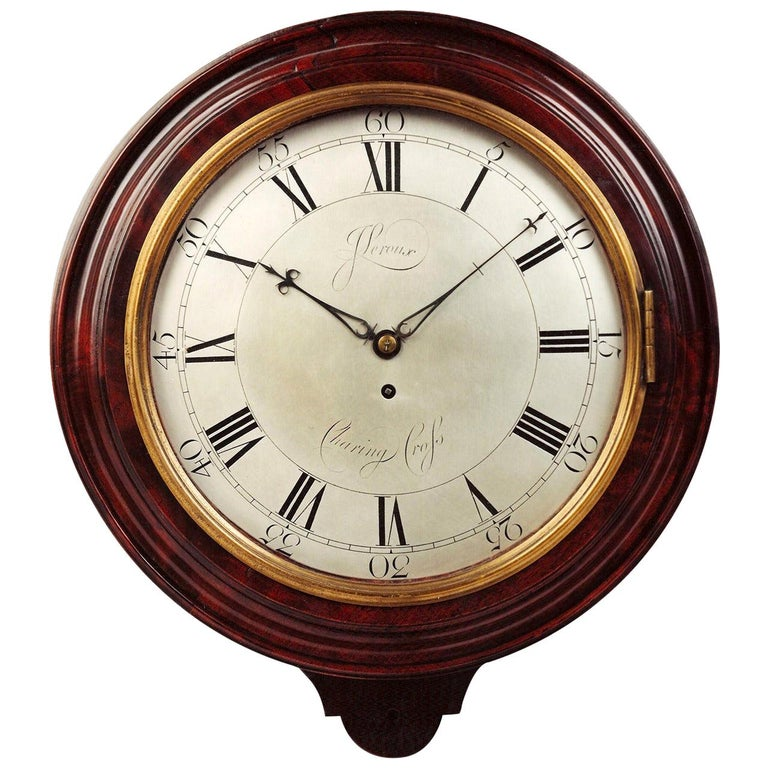 Antique George III Mahogany Wall Clock by John Leroux of Charing Cross London