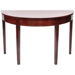 George III Mahogany Demilune Console Table