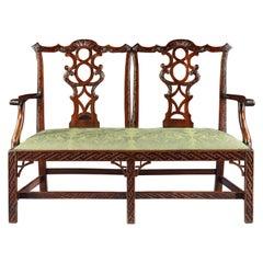 George III Mahogany Double Chair Back Settee