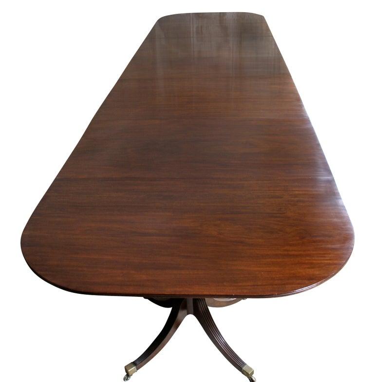 English George III Mahogany Four Pedestal Dining Table For Sale