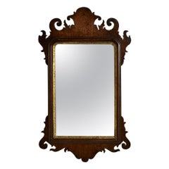 George III Mahogany Fretted Wall Mirror