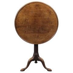 George III Mahogany Gun Barrel Tray Top Tripod Table, Sofa Table, Chippendale