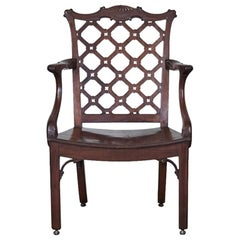 George III Mahogany Hall Armchair in the Manner of Robert Manwaring