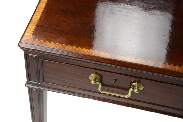 British George III Mahogany Library Table, 1770-1780 the Top Cross-Banded in Tulipwood For Sale