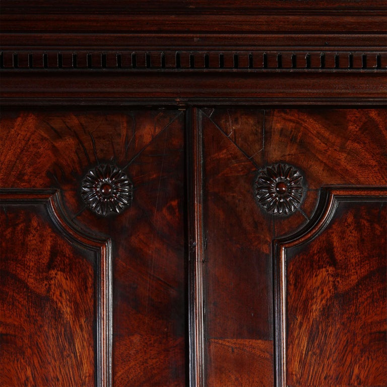 Chippendale George III Mahogany Linen Press Wardrobe For Sale