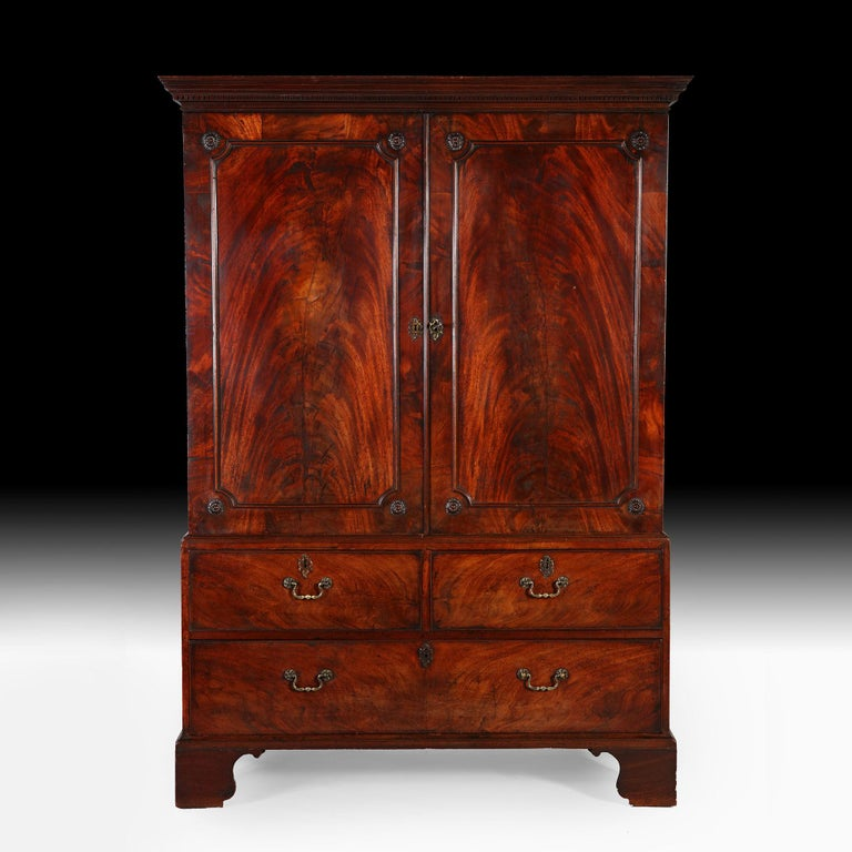 Mid-18th Century George III Mahogany Linen Press Wardrobe For Sale