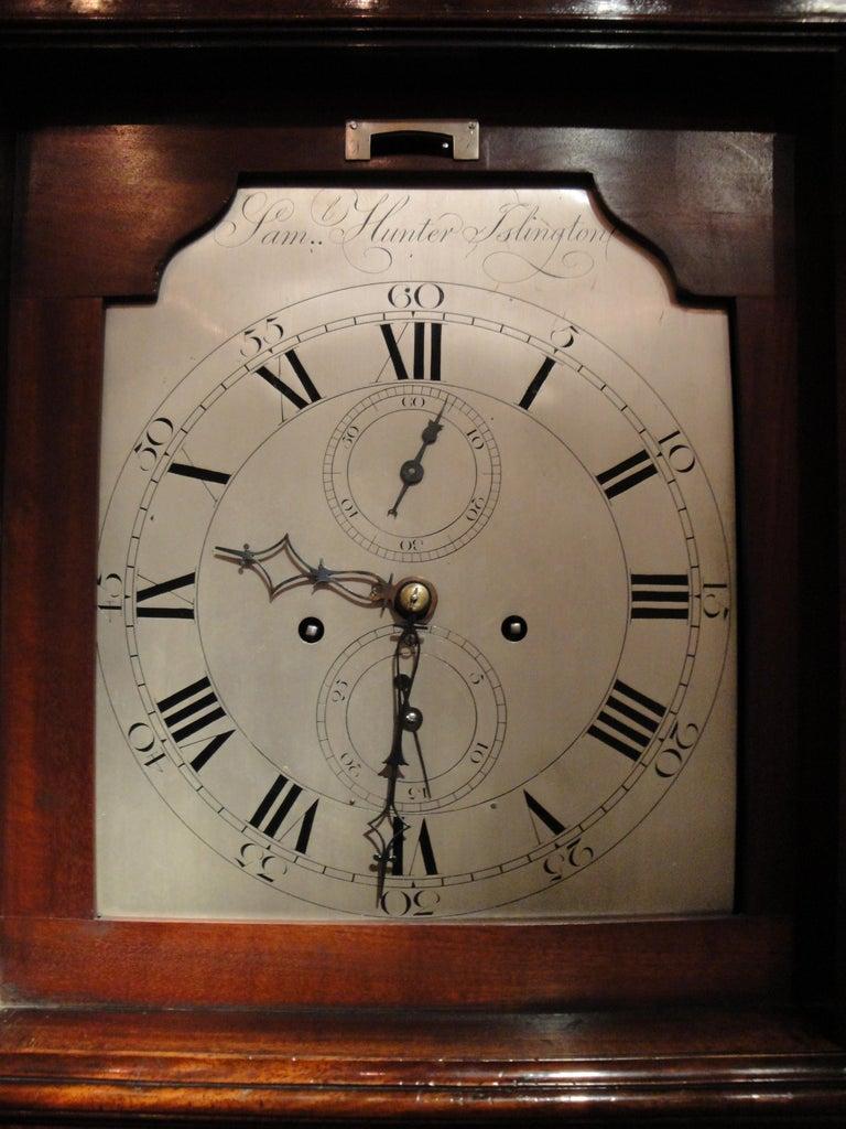 British Antique George III Mahogany Longcase Clock by Samuel Hunter of Islington London For Sale