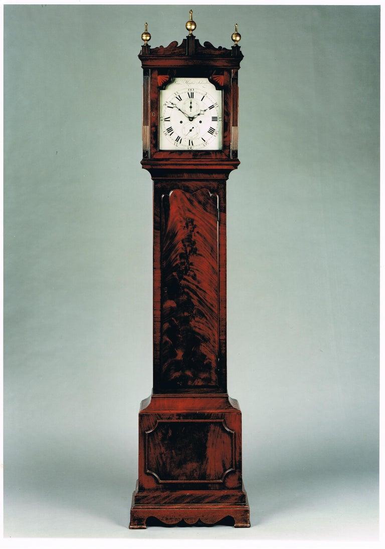 Antique George III Mahogany Longcase Clock by Samuel Hunter of Islington London In Good Condition For Sale In Devon, GB
