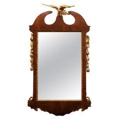 George III Mahogany Mirror with Gilt Eagle Crest, England, circa 1820