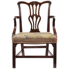 18th Century George III Mahogany Open Armchair in the Chippendale Style