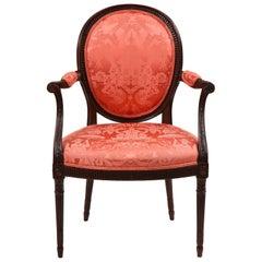 George III Mahogany Oval Back Carved Armchair