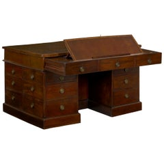 George III Mahogany Partner's Antique Pedestal Writing Table Desk, England
