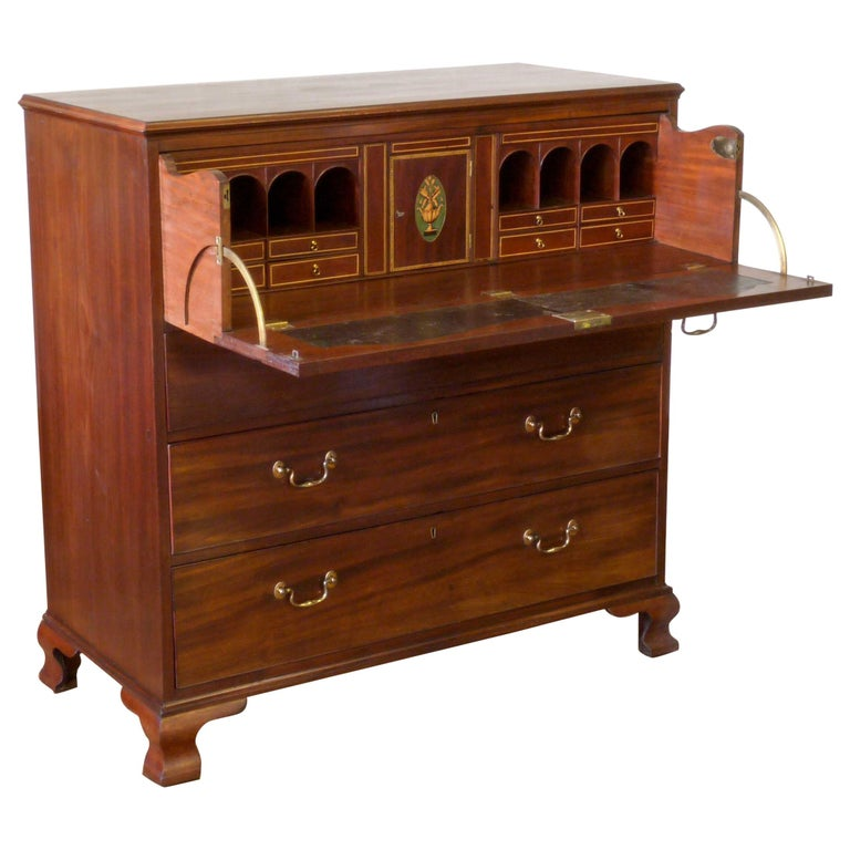 George III Mahogany Secretaire Chest For Sale