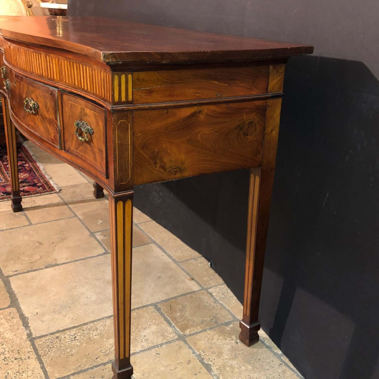 English George III Mahogany Serpentine Sideboard For Sale