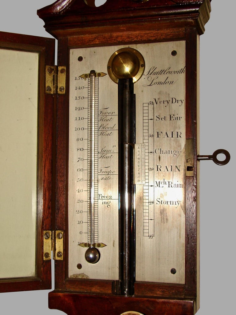 A fine George III mahogany stick barometer and thermometer with an engraved silvered register, made and signed by Henry Raines Shuttleworth, London. Shuttleworth flourished from 1746-1811 and was a well-regarded optician and instrument maker.