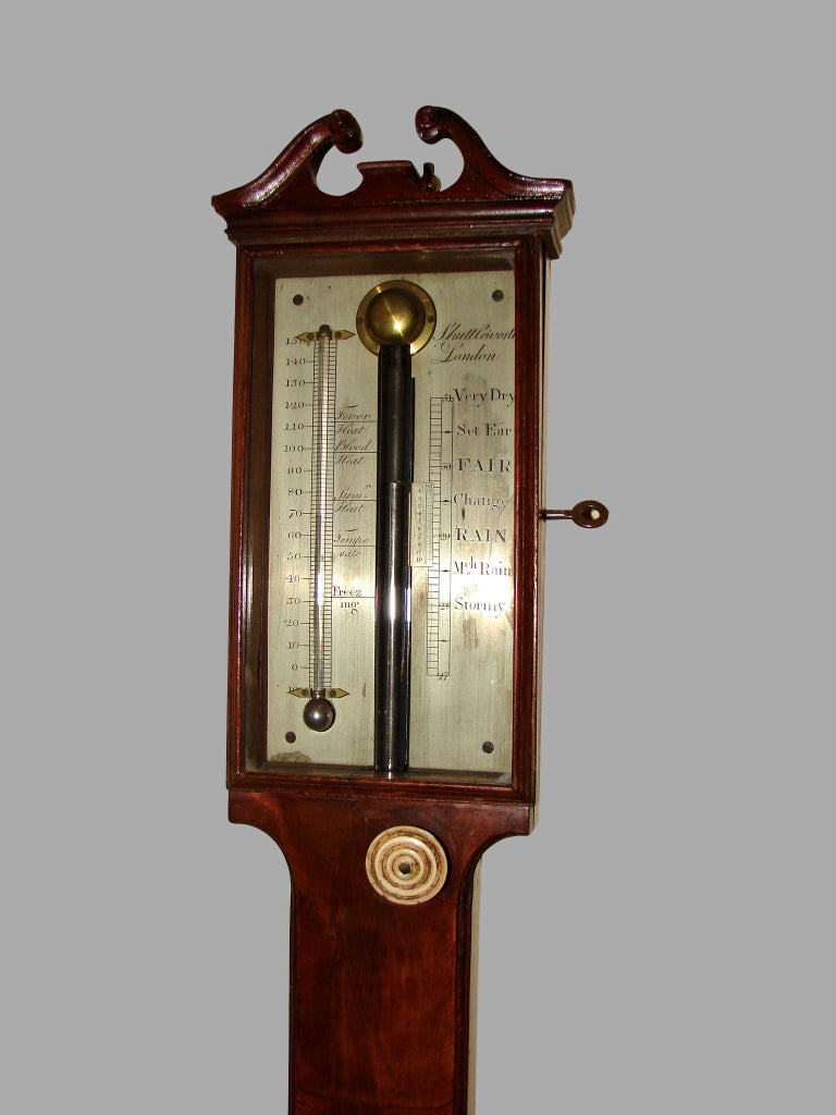 Silvered George III Mahogany Stick Barometer by Henry Shuttleworth, London For Sale