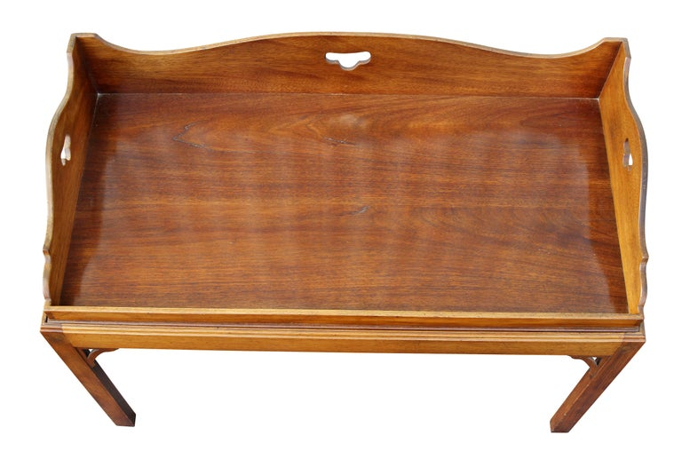 English George III Mahogany Tray Top Coffee Table on Later Stand For Sale