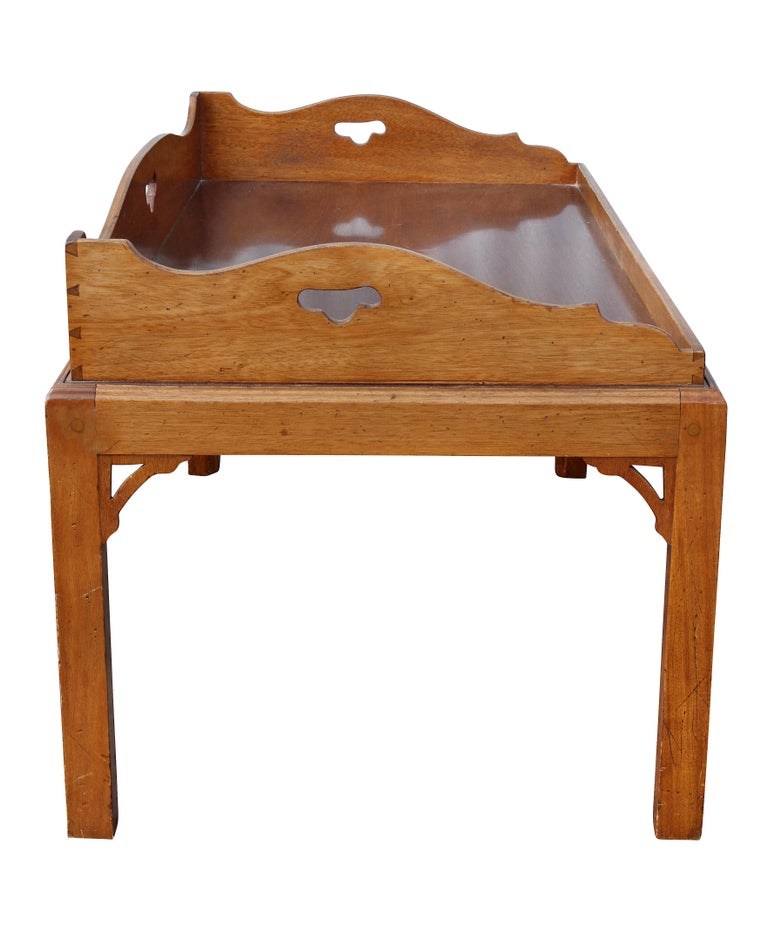 George III Mahogany Tray Top Coffee Table on Later Stand For Sale 1