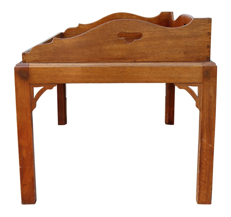 George III Mahogany Tray Top Coffee Table on Later Stand For Sale 3