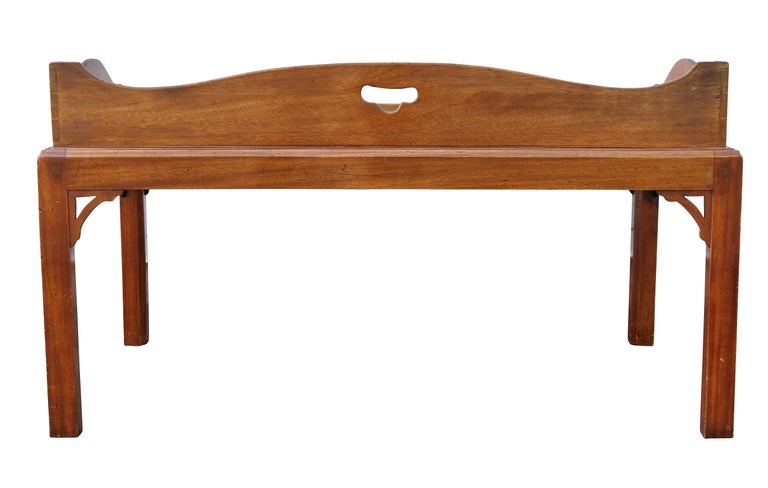George III Mahogany Tray Top Coffee Table on Later Stand For Sale 4