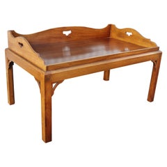 George III Mahogany Tray Top Coffee Table on Later Stand