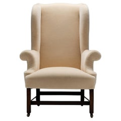George III Mahogany Wing Chair in Teddy Mohair from Pierre Frey