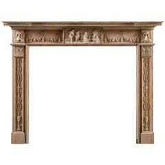 18th Century George III, Neo-Classical, Gesso Mounted Pine Fireplace Mantel