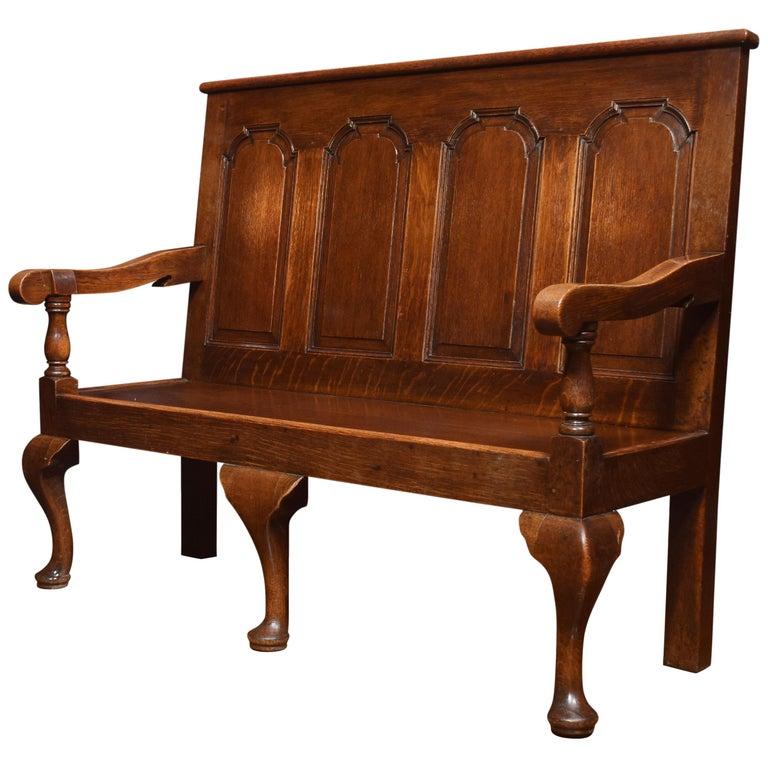 George III Oak Bench Settle For Sale