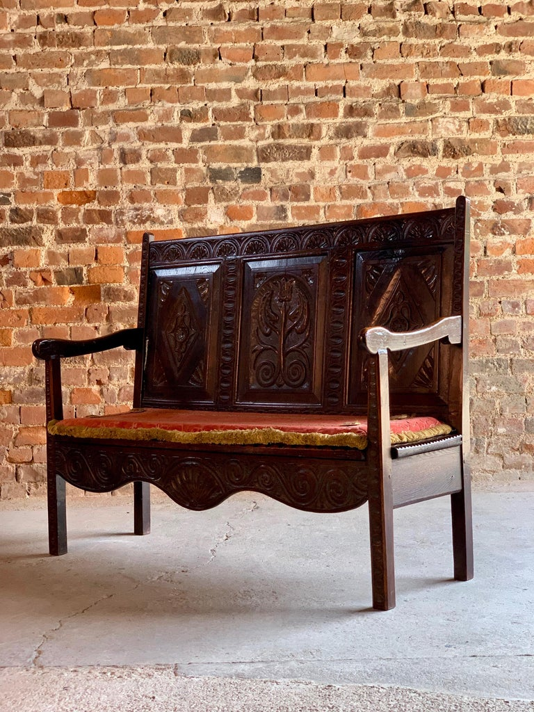 Pleasing George Iii Oak Bench Settle Small And Petit England Circa Beatyapartments Chair Design Images Beatyapartmentscom