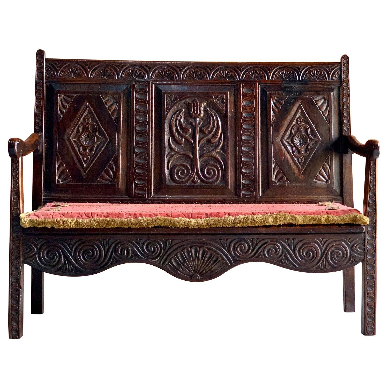Stupendous George Iii Oak Bench Settle Small And Petit England Circa 1790 Beatyapartments Chair Design Images Beatyapartmentscom