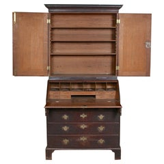 George III Oak Bureau Bookcase Secretaire