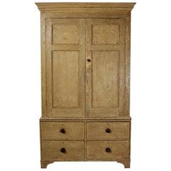 George III Original Painted Pine Press / Kitchen Cupboard