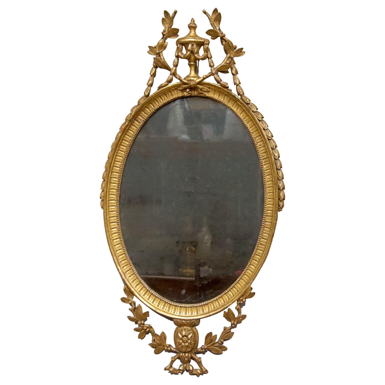 George III Oval Giltwood Mirror, 18th Century
