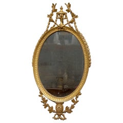 George III Oval Giltwood Mirror, 18th Century