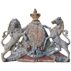 George III Painted and Carved Wood Coat of Arms of the United Kingdom