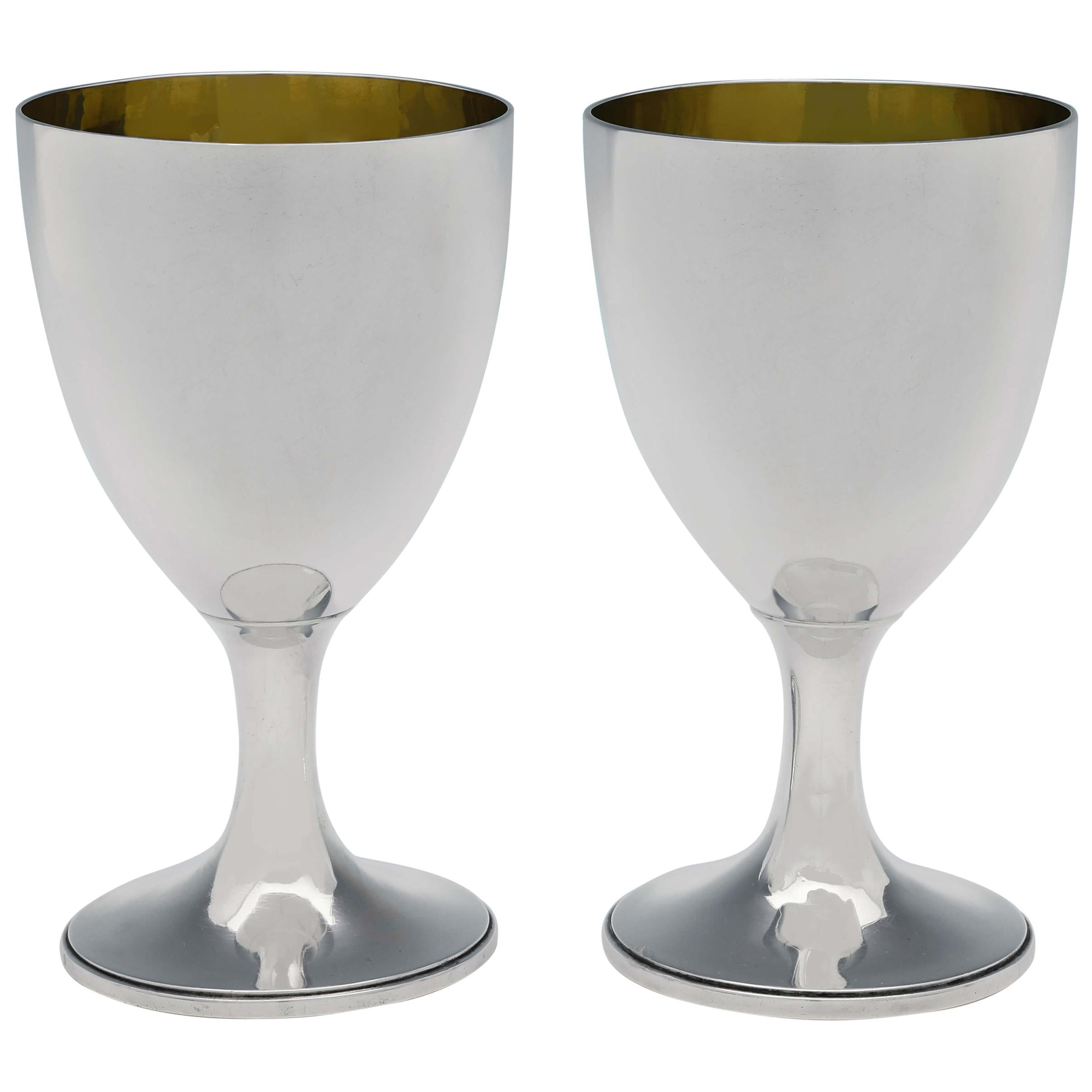 George III Pair of Antique Sterling Silver Goblets by John Denziloe