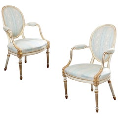 George III Parcel Gilt Painted Pair of Chairs
