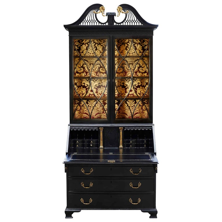 George III Parcel-Gilt Secretary Bookcase For Sale