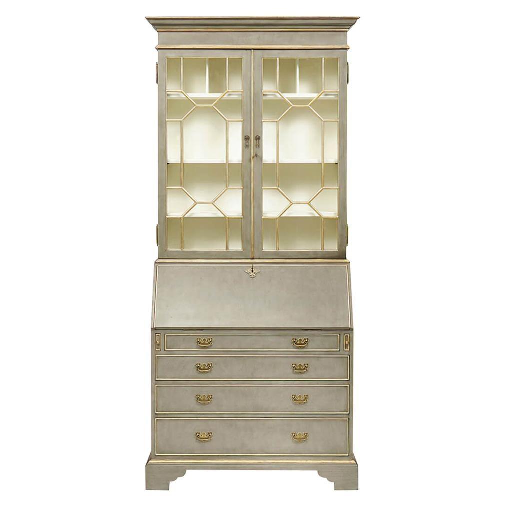 George III Parcel-Gilt Secretary Bookcase