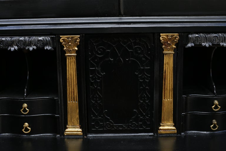 Mahogany George III Parcel-Gilt Secretary Bookcase with Provenance For Sale