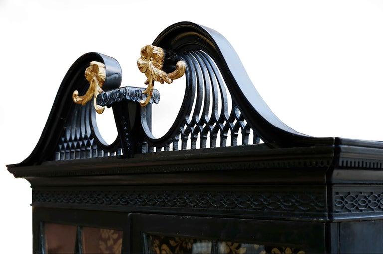 Mahogany George III Parcel-Gilt Secretary Bookcase For Sale