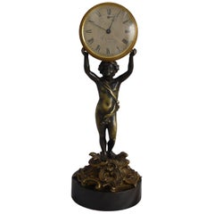George III Patinated Bronze and Ormolu Figural Mantel Clock Signed W. Glover