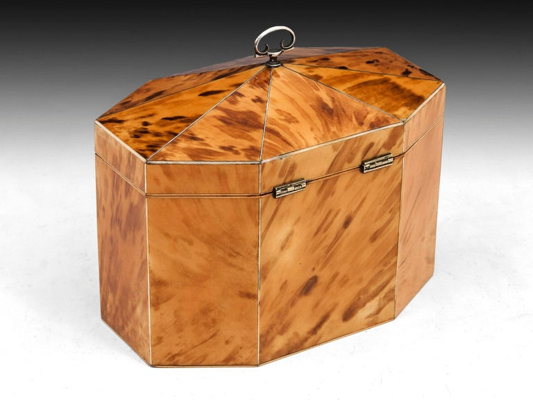 George III Period 18th Century Octagonal-Shaped Blonde Tortoiseshell Tea Caddy In Good Condition For Sale In Bradford on Avon, GB